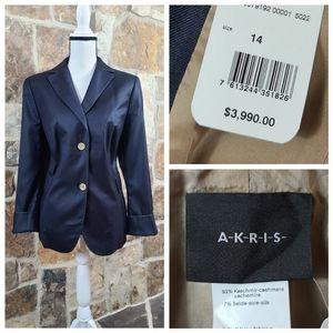 NWT Akris 14 Cashmere Silk Pele Blazer Jacket Coat